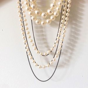 Layered Faux Pearl White Bronze Statement Necklace